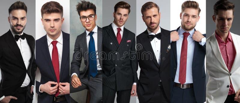 Os sete retratos dos homens ocasionais diferentes imagem de stock