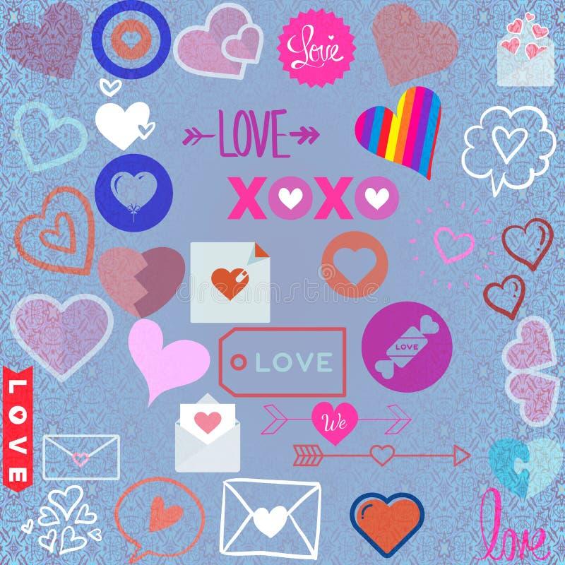 Os sinais abstratos dos ícones do amor projetam em um fundo azul ilustração stock