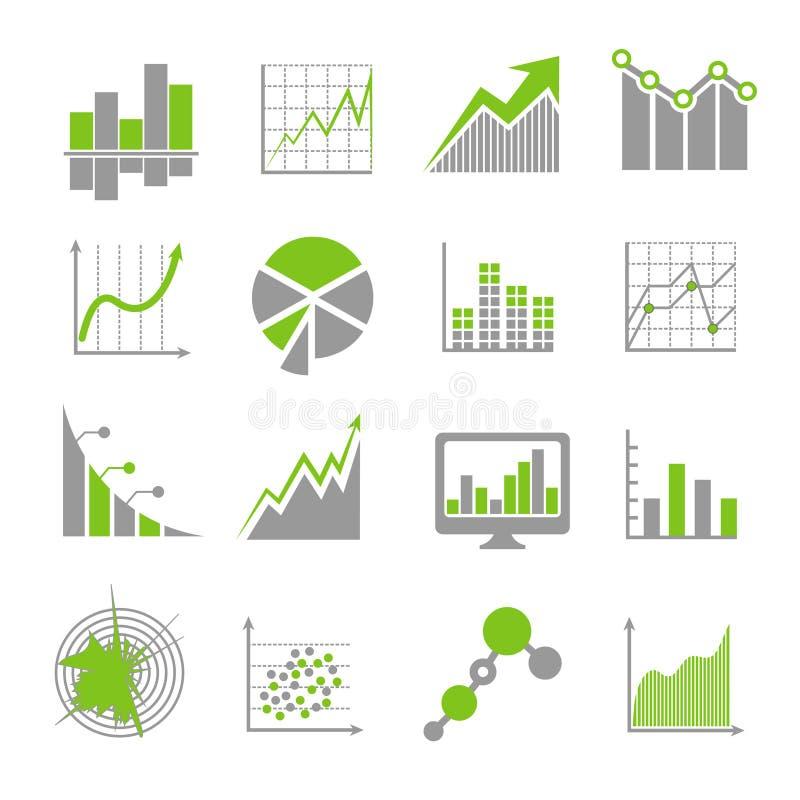 Os sinais da análise de dados e a analítica financeira do negócio vector ícones ilustração royalty free