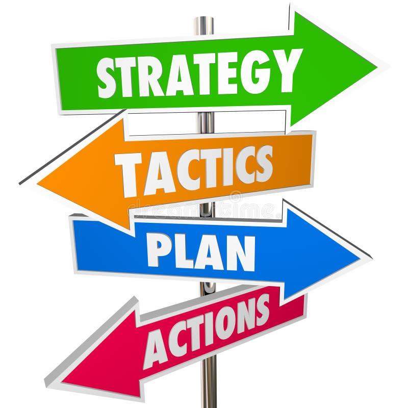 Os sinais da seta da ação do plano das táticas da estratégia conseguem o objetivo 3D ilustração stock