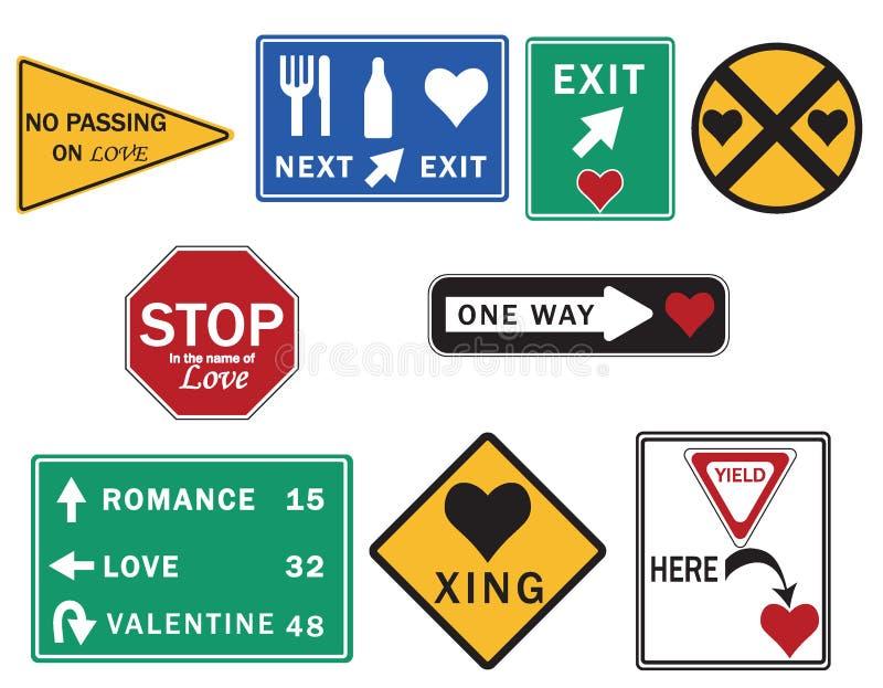 Os sinais de estrada amar uma coleção do amor inspiraram sinais de estrada foto de stock royalty free