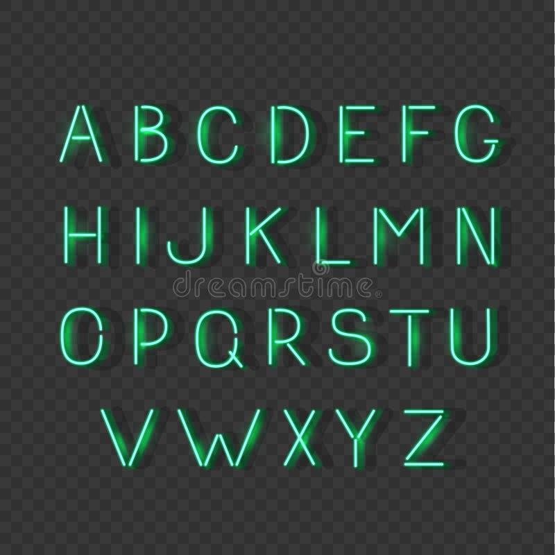 Os sinais de incandescência verdes do vetor do alfabeto da luz de néon, typeset, letras, fonte ilustração stock