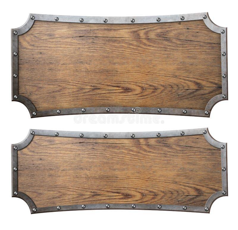Os sinais de madeira medievais ajustaram a ilustração 3d ilustração do vetor