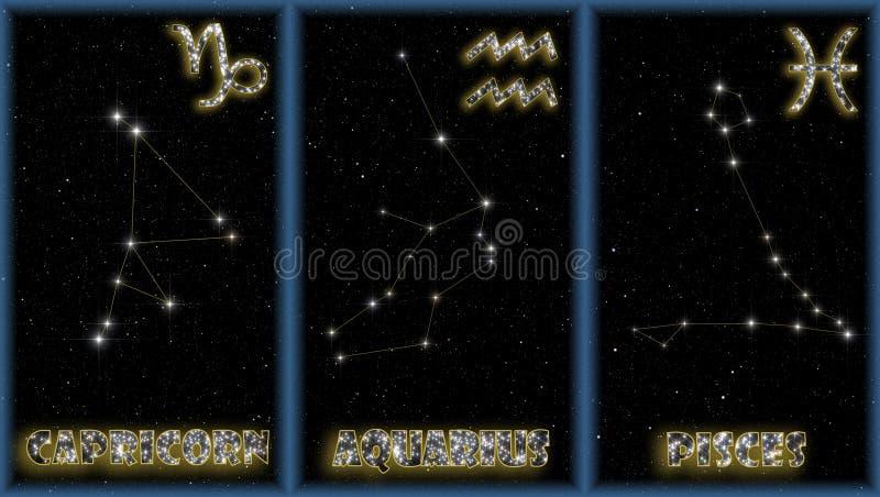 Os sinais do inverno do zodíaco ilustração stock