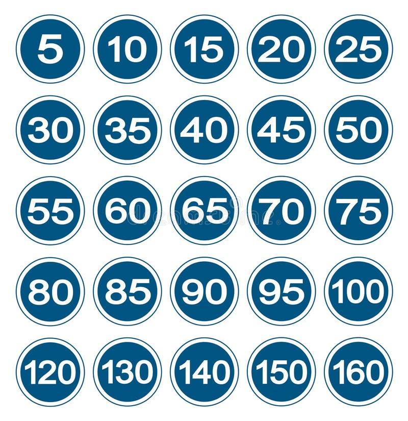 Os sinais do limite de velocidade ajustaram o isolado no fundo branco, ilustração EPS do vetor 10 ilustração royalty free