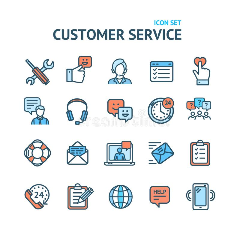 Os sinais do serviço ao cliente colorem a linha fina grupo do ícone Vetor ilustração stock
