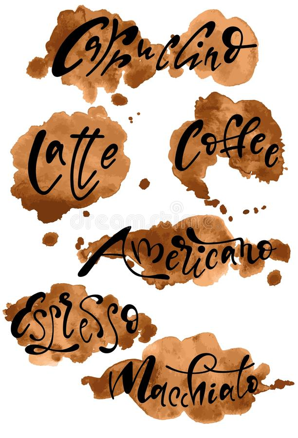 Os sinais do vetor de tipos diferentes de café no café espirram imagens de stock
