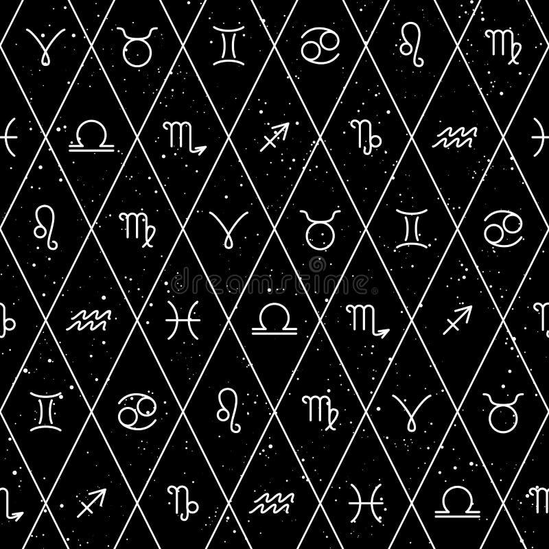 Os sinais do zod?aco, s?mbolos do horoscrope, protagonizam no espa?o, teste padr?o sem emenda Textura para pap?is de parede, tela ilustração stock
