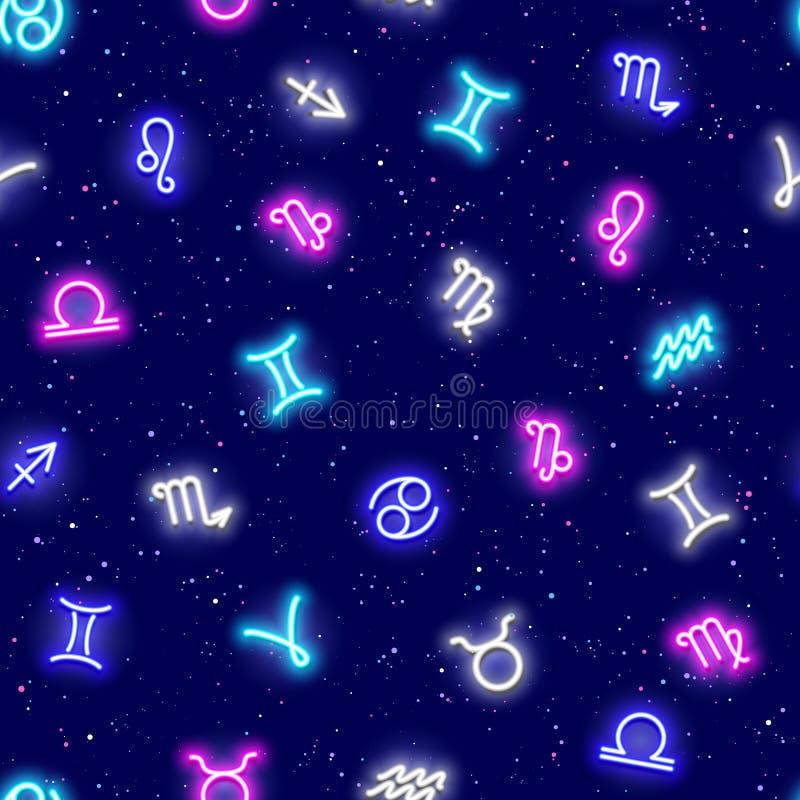 Os sinais do zod?aco, s?mbolos do horoscrope, protagonizam no espa?o, teste padr?o sem emenda Textura para pap?is de parede, tela ilustração royalty free
