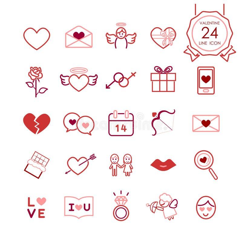 Os sinais e a linha vermelhos ícones dos símbolos ajustaram-se do coração e de elementos românticos para o dia de Valentim ilustração royalty free