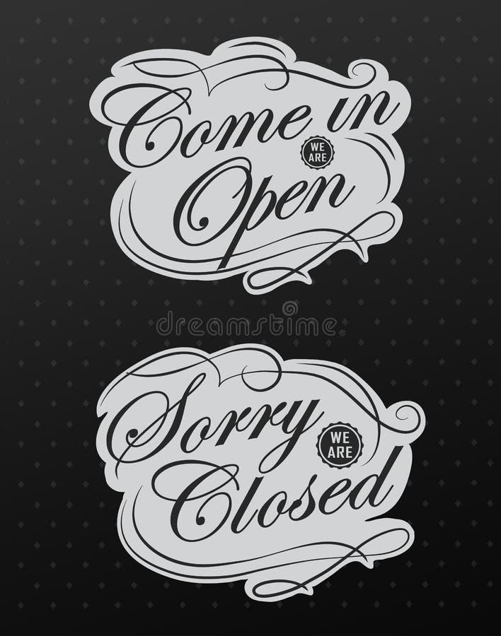 Os sinais retros abrem e fechado. Ilustração do vetor. ilustração royalty free