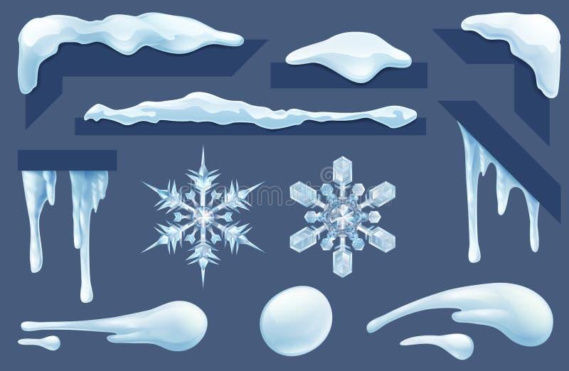 Os sincelos congelados congelam e nevam elementos do projeto do inverno ilustração royalty free