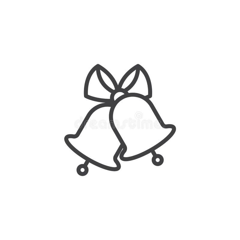 Os sinos de casamento alinham o ícone ilustração do vetor
