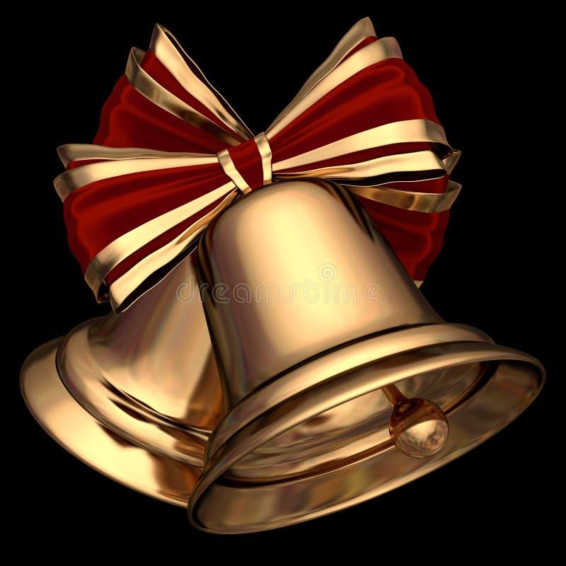Os sinos de Natal dourados 3D rendem ilustração royalty free