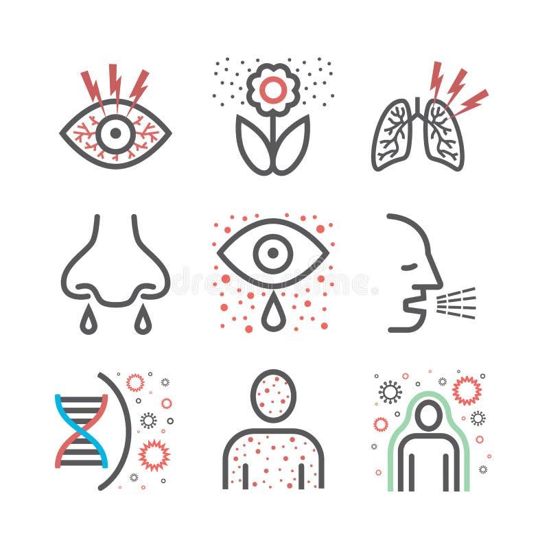 Os sintomas da alergia alinham os ícones infographic Sinal do vetor para o gráfico da Web ilustração royalty free