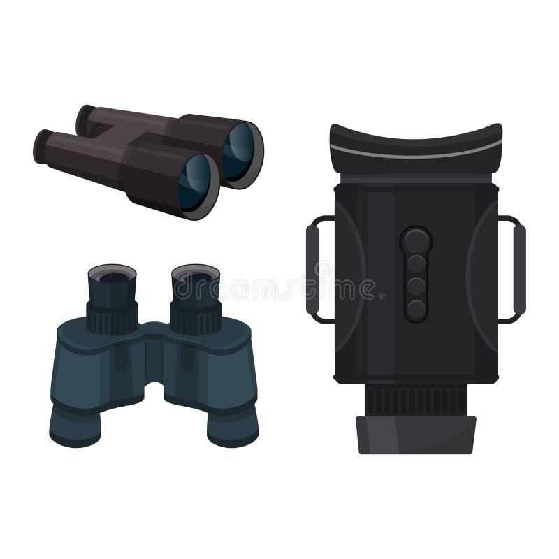 Os sistemas óticos do telescópio pequeno do equipamento ótico do vetor dos binóculos olhar-veem a vista do grupo distante da ilus ilustração do vetor