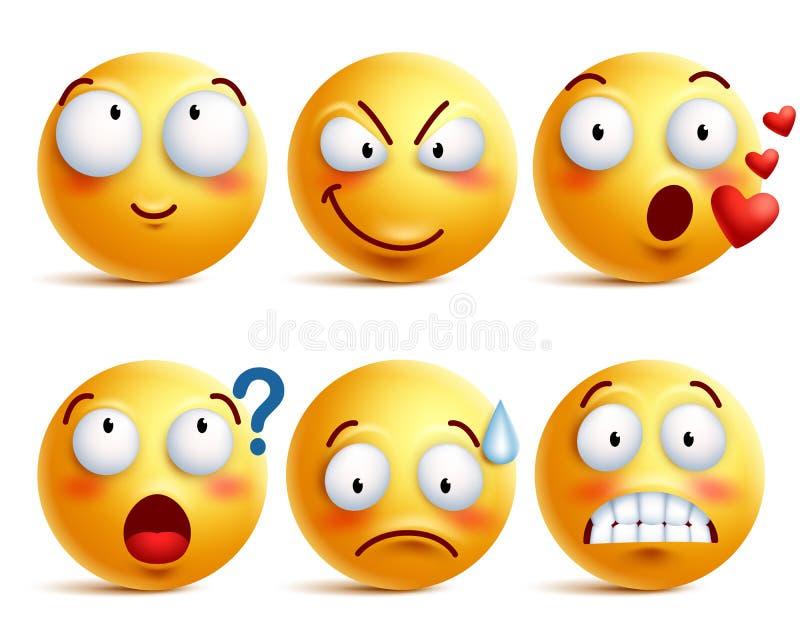 Os smiley vector o grupo Cara ou emoticons amarelos do smiley com expressões faciais
