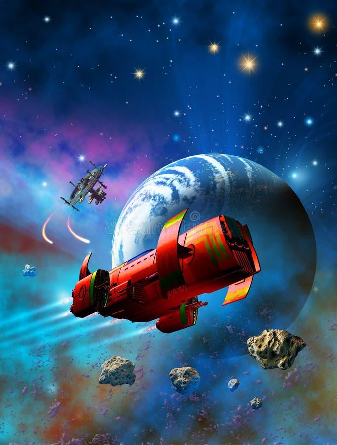 Os soldados futuristas da mulher, terno vermelho e nave espacial helred, uma estação espacial lançam mísseis para defender o plan ilustração stock