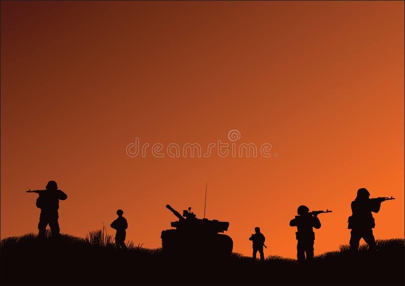 Os soldados que vão atacar ilustração royalty free