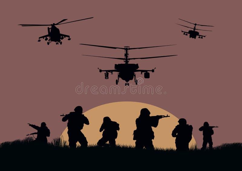 os soldados que vão atacar e helicópteros ilustração stock