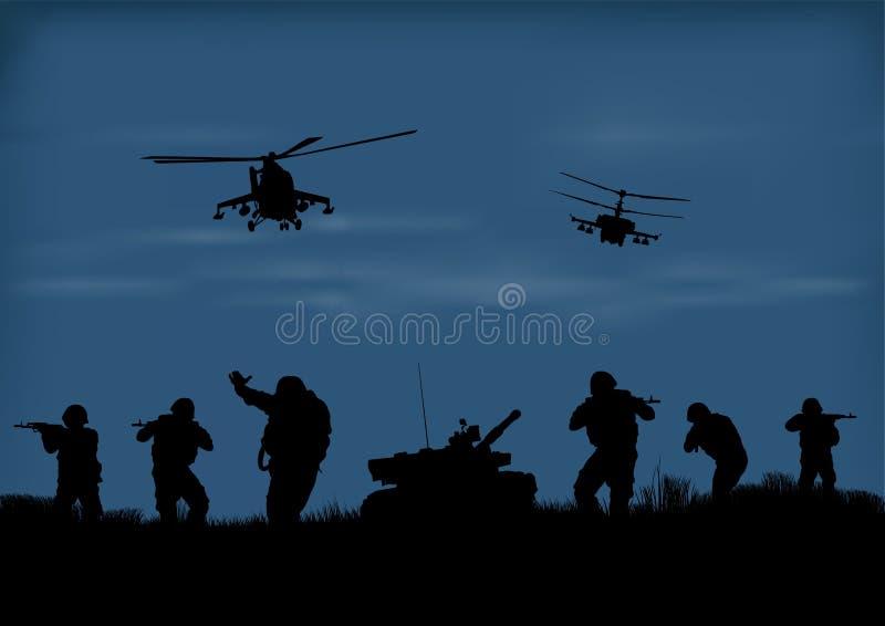 os soldados que vão atacar e helicópteros ilustração royalty free