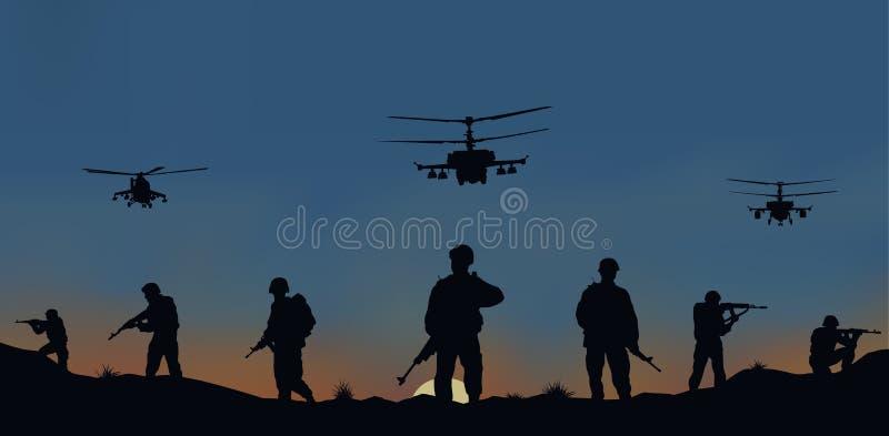 os soldados que vão atacar e helicópteros ilustração do vetor