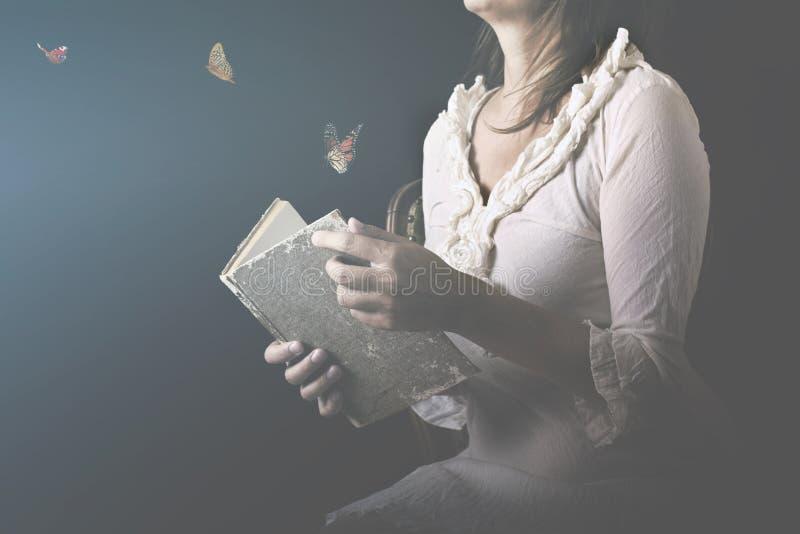 Os sonhos são transformados em borboletas e para sair de um livro mágico imagem de stock