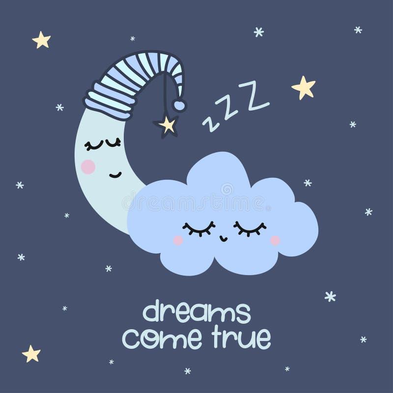 Os sonhos vêm verdadeiro - decoração bonito da lua ilustração do vetor