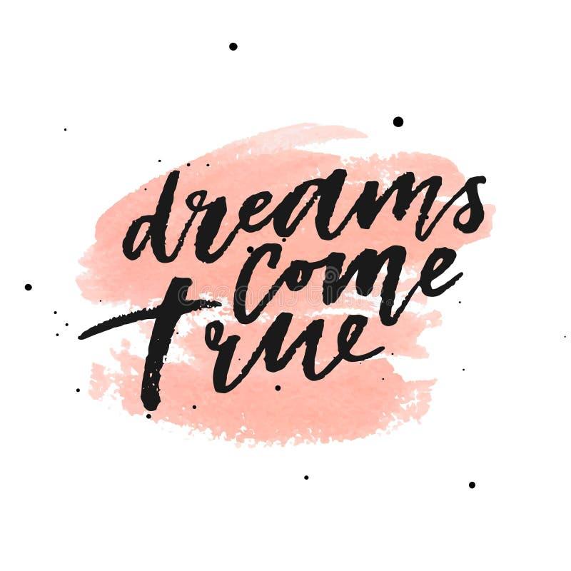 Os sonhos vêm verdadeiro no fundo do pêssego da aquarela Ilustração do vetor ilustração royalty free