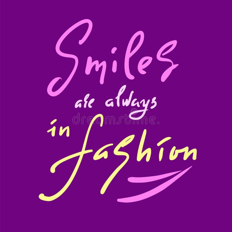 Os sorrisos estão sempre na forma - inspire e citações inspiradores Rotulação bonita tirada mão Cópia para o cartaz inspirado, t- ilustração do vetor
