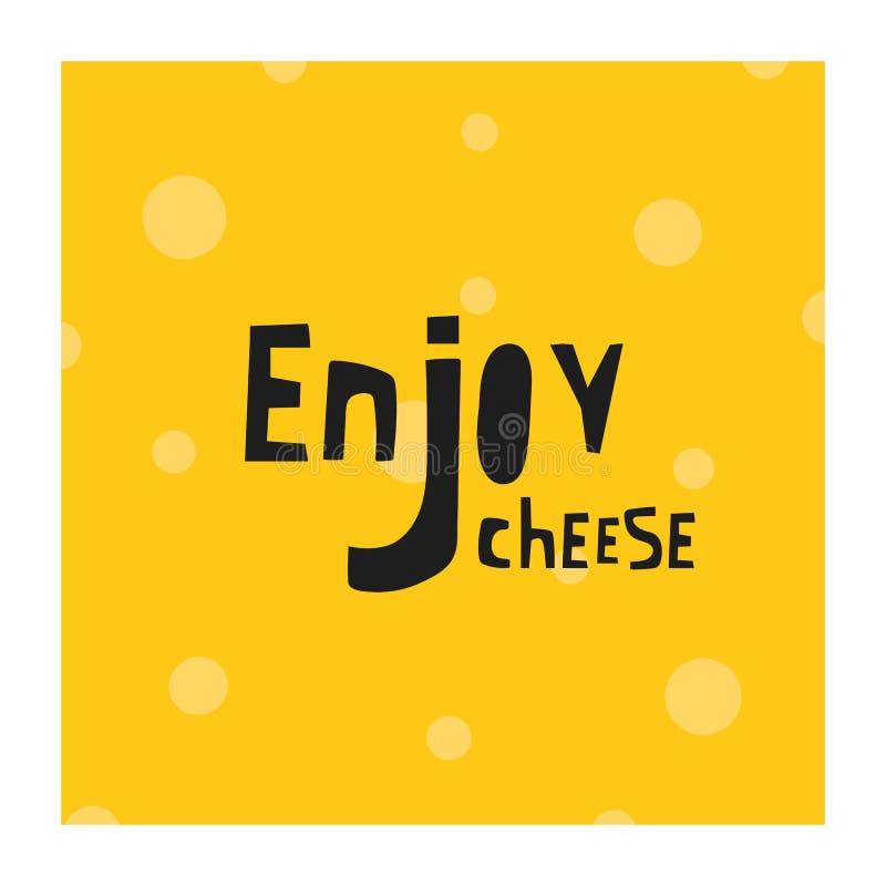 Os suíços tirados mão, fundo do queijo cheddar com rotulação de citações apreciam para o restaurante da loja da loja do menu ilustração royalty free