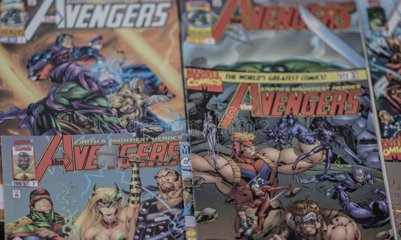 Os super-herói da banda desenhada da maravilha dos vingadores fotografia de stock