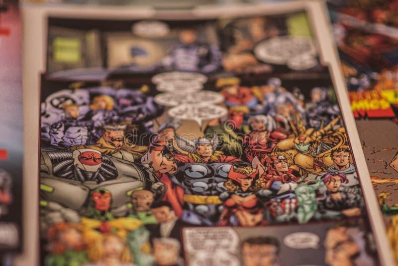 Os super-herói da banda desenhada da maravilha dos vingadores imagens de stock