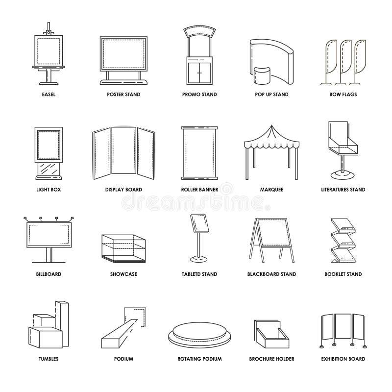 Os suportes e as exposições da propaganda apresentam a linha ícones isolados do vetor das construções do quadro de avisos e da ex ilustração royalty free