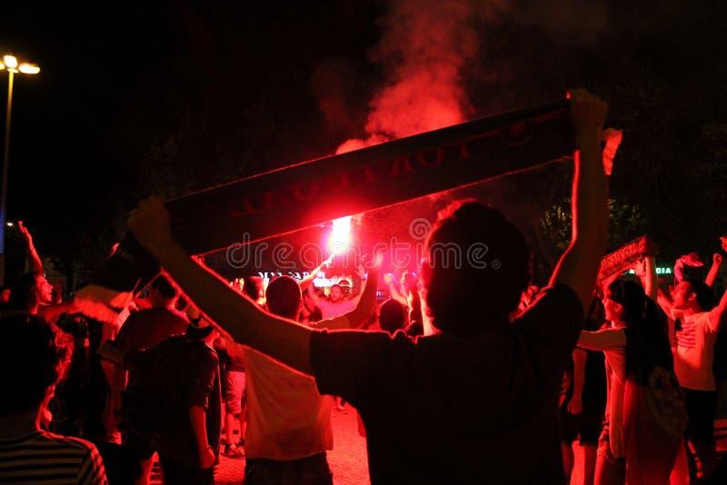 Os suportes que comemoram o europeu tornando-se de Portugal patrocinam 2016 fotos de stock