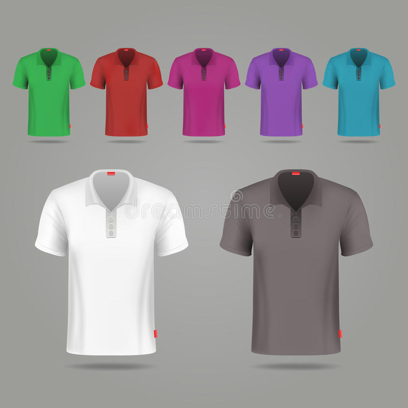 Os t-shirt masculinos pretos, do branco e da cor do vetor projetam o molde ilustração stock