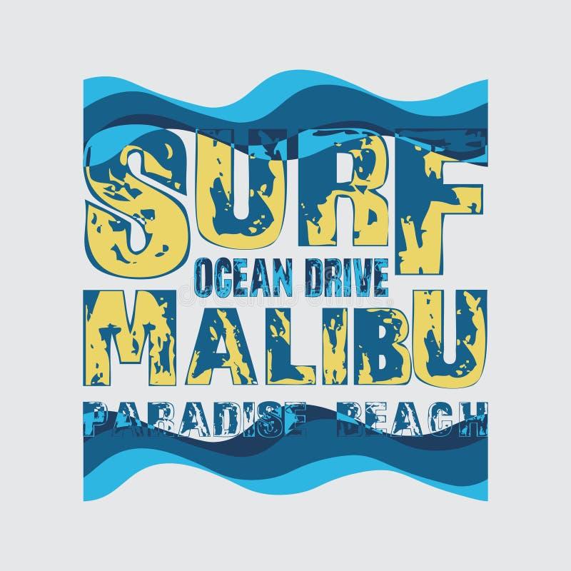 Os t-shirt surfam, Malibu, oceano que surfa, inscrição do t-shirt ilustração do vetor