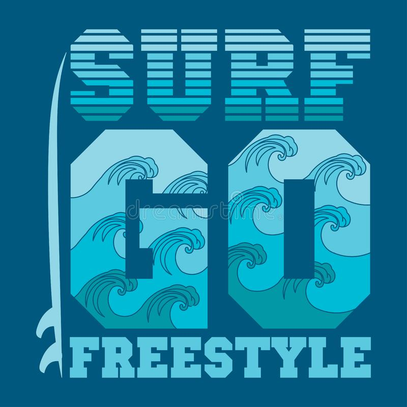 Os t-shirt vão surfar, surfar de Miami Beach, Florida ilustração do vetor