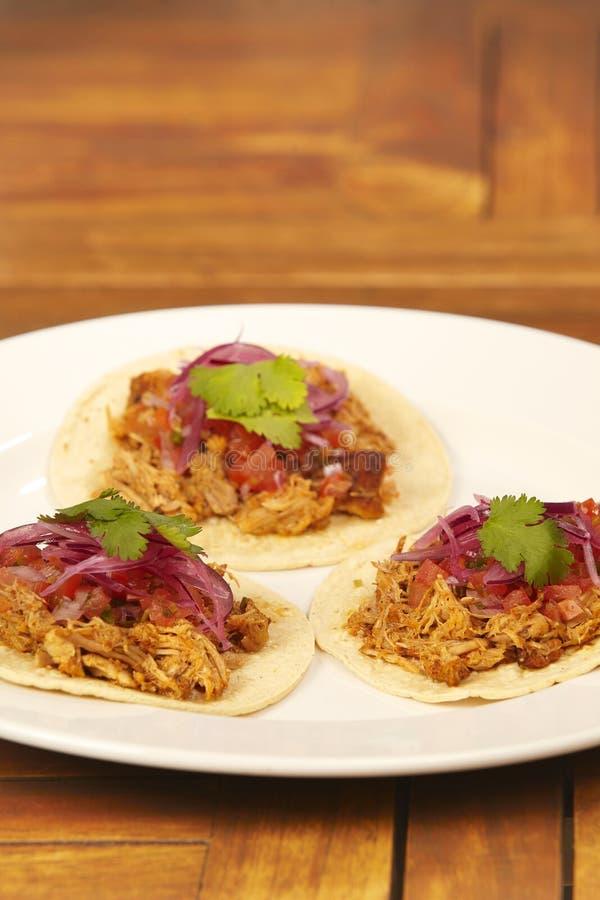 Os tacos com salsa pico de galo, puxaram a carne de porco e a cebola posta de conserva foto de stock