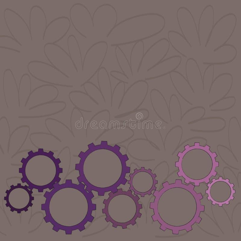 Os tamanhos diferentes da roda da roda denteada da cor alinham o contrato, bloquear, Tesselating Ideia criativa do fundo para ind ilustração royalty free