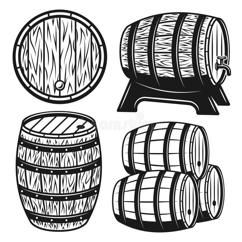 Os tambores ajustaram-se de objetos do vetor ou de elementos do projeto ilustração do vetor