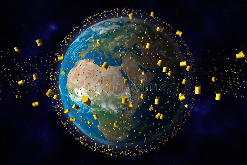 Os tambores amarelos do desperdício nuclear orbitam a terra ilustração royalty free
