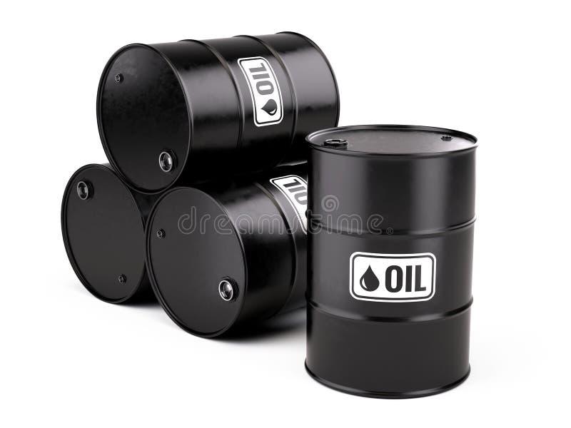 Os tambores de óleo pretos clássicos do metal rufam no fundo branco ilustração royalty free