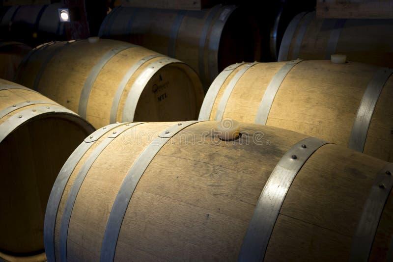 Os tambores de madeira nobres mantêm o vinho fotos de stock