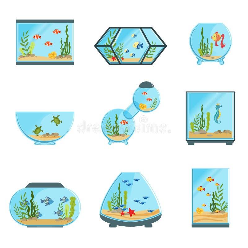 Os tanques do aquário ajustados, os tipos diferentes de aquários com plantas e os peixes detalharam ilustrações do vetor ilustração stock