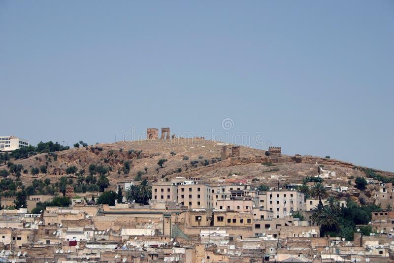 Os telhados do fez e romano permanecem imagens de stock royalty free