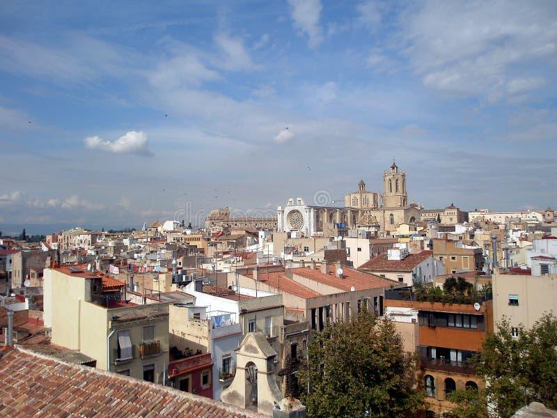 Os telhados e as HOME. Tarragona, Spain fotografia de stock