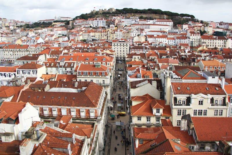 Os telhados, vista bonita, cidade de Lisboa, Portugal imagem de stock