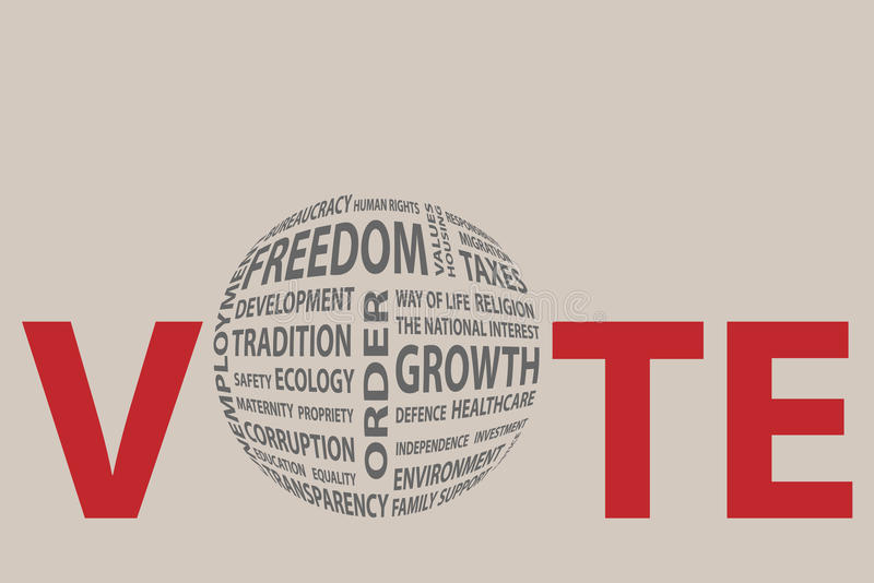 Os temas de pré-eleição políticos globais na letra O da palavra VOTAM ilustração royalty free