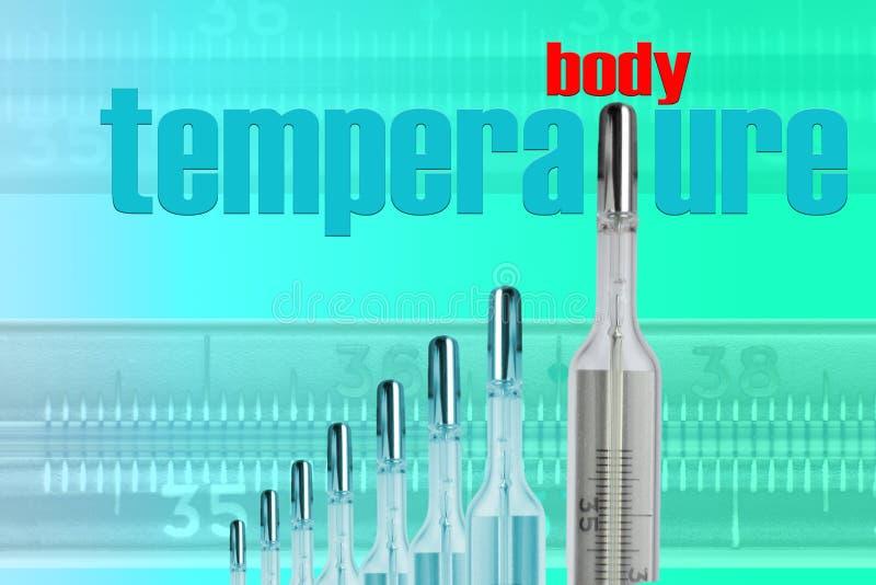 Os termômetros de Mercury e o CORPO TMPERATURE imagem de stock